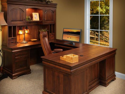 St Gallen Brown Maple U Shaped Desk Countryside Amish