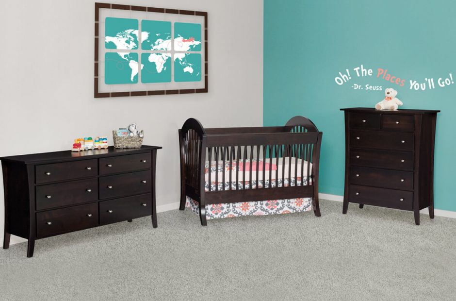 West Village Solid Wood Baby Crib Set Countryside Amish Furniture